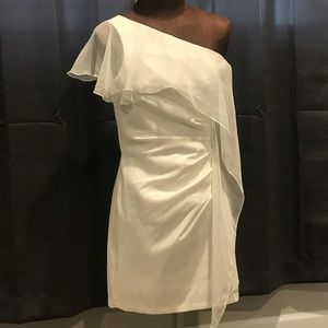 Cache Dresses - Cache one shoulder white dress with ruffle size 8